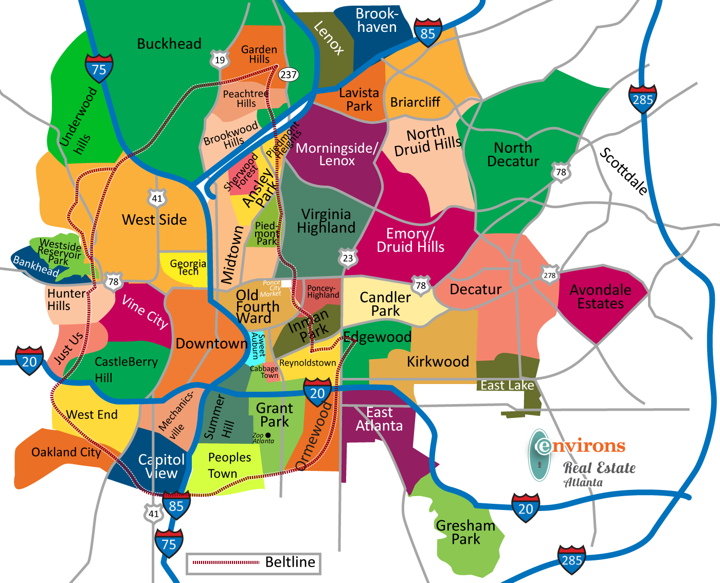 Map Of Atlanta Perimeter Atlanta Neighborhoods Map   Atlanta Real Estate